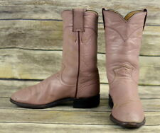 Justin Cowboy Boots Pink Mauve Leather Womens Size 5 C Wide Ropers Distressed