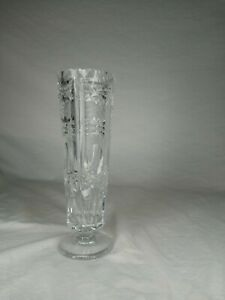 """Deep Cut Crystal Vase Etched Diamond and Starburst Pattern Large Heavy 10"""" Tall"""