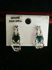 PAUA Shell Abalone Silver Tone Hoop Heart Earrings - 972 PAJ