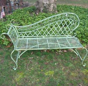 "Garden Lounge Bench 35"" High  - Wrought Iron - Antique Green Rustic Finish"