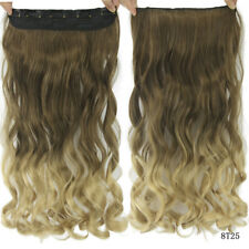 Balayage Ombre Clip In Hair Extensions Full Head Long Thick Wavy Curly 1Piece