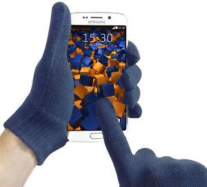 mumbi Handschuhe für Handy Tablet Touchscreen Damen Herren Größe S Gloves blau