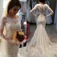 White Ivory Long Sleeve Mermaid Lace Wedding Bridal Dress Size 6 8 10 12 14 16++