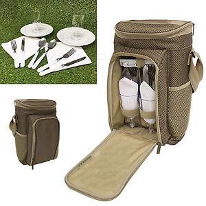 2 or 4 Person Picnic Set Camping Hiking Travel Dinner Dining Rucksack Hamper Bag