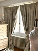 DESIGNER CURTAINS cotton silk CHATEAU chic FRENCH DAMASK florals BLACKOUT huge