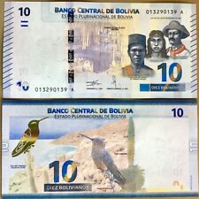 BOLIVIA 10 BOLIVIANOS 2018 NEW COLOR DESIGN GIANT HUMMINGBIRD PUYA RAIMONDI UNC