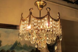 Antique Vintage PLAFONIER  French  Basket style  Crystal Chandelier Light Lamp