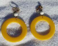 Vintage Earrings 1930s Art Deco Bakelite Yellow Hoop Drops Jewelry