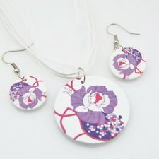 fashion Flowers wood pendants Necklace Earrings Jewerly set XL23
