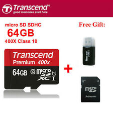 Transcend 400X 60MB/S 64GB MicroSDXC TF Flash Memory Card C10 UHS-I With Adapter
