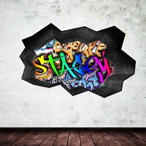 FULLCOLOUR PERSONALISED 3D GRAFFITI NAME CRACKED WALL STICKER DECAL MURAL WSD128
