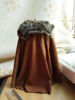 "1:6 Ancient soldier Roman general Russell cloak Cape W Fur collar For 12"" Figure"