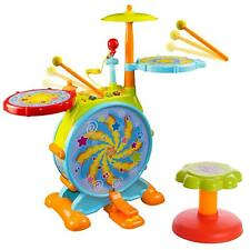 Huile Electric Toy Jazz Drum Set for Kids Musical Instrument Playset with Mic
