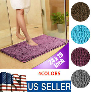 Non-slip Soft Bath Mat  Microfiber Fluffy  Bathroom Floor Mat Good Absorbent Rug