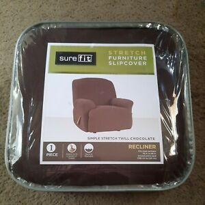 Surefit Stretch Furniture Cover Recliner 78 To 88 In Twill Chocolate Brown NWT