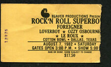 1982 Foreigner Ozzy Ozbourne concert ticket stub Rock Roll Super Bowl Texxas Jam