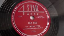 """""""T"""" Texas Tyler - 78rpm single 10-inch – 4-Star #1228 Ida Red & Deck Of Cards"""