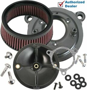 S&S Cycle Stealth Black Stage 1 Air Cleaner Filter Kit Harley 08-17 Harley TBW