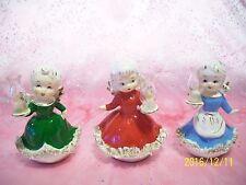 V. RARE VTG Lefton Christmas Angel Girls Hold Hurricane Lantern Lamp Candle Set