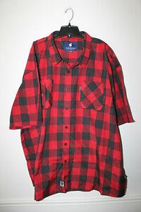 New WTag Rocawear plaid button down short sleeve red dress shirt men's 2XB $50