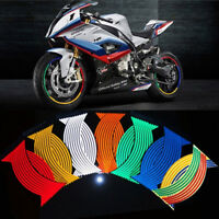 16 Strips Lots Reflective Motorcycle Car Rim Stripe Wheel Decal Tape Sticker HQ