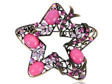 Holiday Rose Diamante Rhinestone Star Flower Fashion Jewelry Pin Brooch Gifts