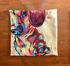 Square Pillow Case Cover Throw 17x17 With Multi Color Dachshund Style Dog