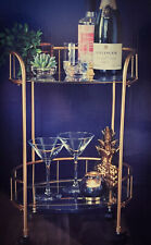 New Gold Drinks Gin Cocktail Trolley Gold Effect 2 Tier Glass Shelves Mini Bar
