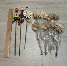 New listing Lot Of 3 Hand Painted & 8 Unfinished Tole Painting Wood Garden Picks