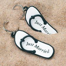 "Mini Flip Flop ""Just Married"" Key Chains Set of 6 Weddingstar"