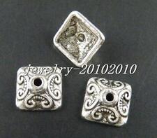 90pcs Tibetan Silver Nice Square Shaped Bead Caps 10x10mm 893