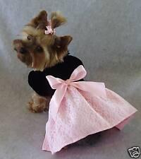 XXS Black Velvet Pink Satin Dog Dress clothes Gown PC Dog®