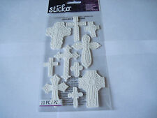 Scrapbooking Stickers Sticko White Crosses Detailed Different Sizes Dimensional