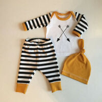 3PCS Newborn Baby Boys Girls Cute Tops Romper Pants Hat Outfits Clothes Set Xmas
