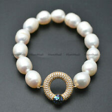 Natural White Pearl Rice Beads Paved Zircon Abalone Shell Charm Bracelet Jewelry