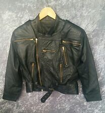 Ladies 100% Genuine Leather Jacket - Motorbike Motorcycle Black Zip - 12/14/16/L
