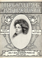THERE'S A PLACE IN MY HEART FOR YOU Music Sheet-1912-PRETTY LADY-Valentine