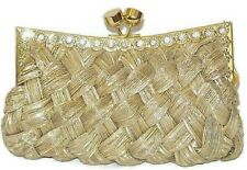 Gold Evening Bag Braided Purse with Clear Crystals