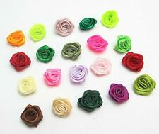 100/200X 12mm Small Satin Flower Ribbon Mini Rose Appliques Sewing Craft DIY