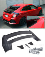 For 16-Up Honda Civic Hatchback MUGEN Style Rear Spoiler With Wing Riser Bracket