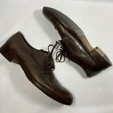 VINTAGE MENS BROWN BROGUES TRUE LEATHER FORMAL SHOES SIZE 10 MADE IN ITALY