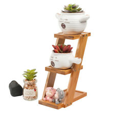 3-Tier Square Bamboo Tray Succulent Stand Cactus Flower Plant Pot Planter Holder