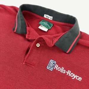VTG Rolls-Royce Men's Embroidered Logo Polo Shirt Red • XL