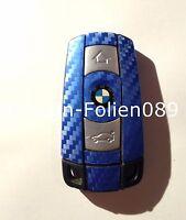 CARBON BLAU Schlüssel Folie BMW Key 1 3 5 X3 X5 X6 X1 E60 E70 E90 E91 E92 E93 M