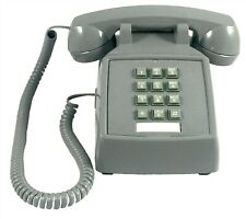 Retro Push Button Corded Desk Phone Basic Telephone Slate Grey Vintage Style NEW