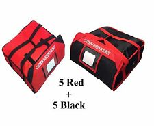 """10 x Pizza Delivery Bag (Size 20""""X20""""X7"""") Full Insulated All Side 5 Red 5 Black"""