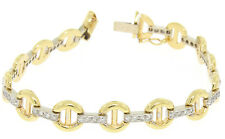 "NEW 7"" 14K Yellow Gold Buckle & Pave Round Diamond White Gold Bar Link Bracelet"