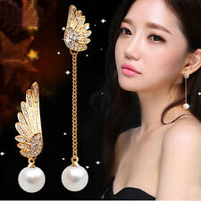 1 Pair Women Elegant Wings Rhinestone Ear Stud Gold Dangle Earrings Distinct