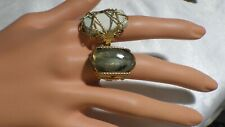 TWO BEAUTIFUL GOLD FILLED WRAPPED  RINGS W, NATURAL STONES