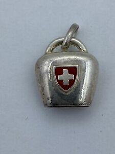 Vintage Enamel Sterling Silver Medical Swiss Bell Charm